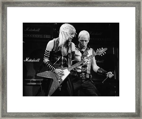 Photo Of Judas Priest And Rob Halford Framed Print by Pete Cronin
