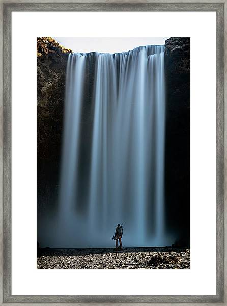 Amongst Giants Skogafoss Iceland Framed Print