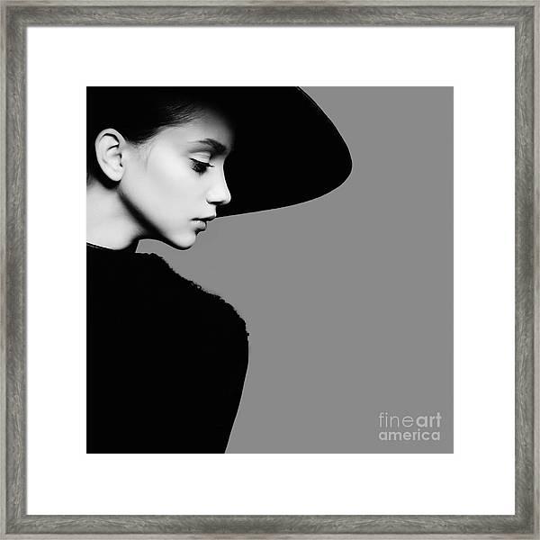 Portrait Of Beautiful Girl In Hat In Framed Print by Yuliya Yafimik
