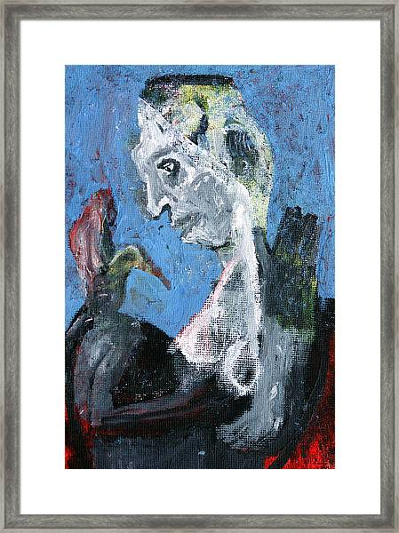 Portrait With A Bird Framed Print