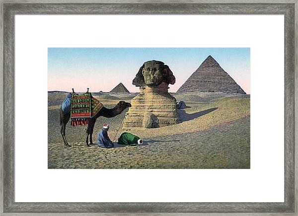 Praying Men At Great Sphinx Framed Print