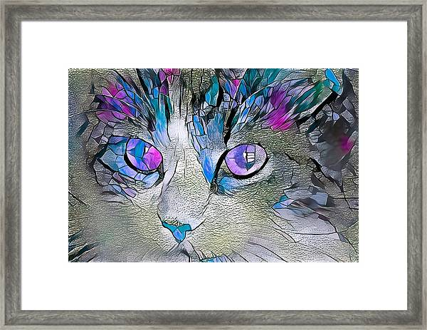Purple Stained Glass Kitty Framed Print