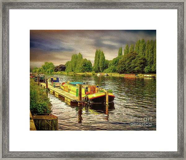 River Work Framed Print