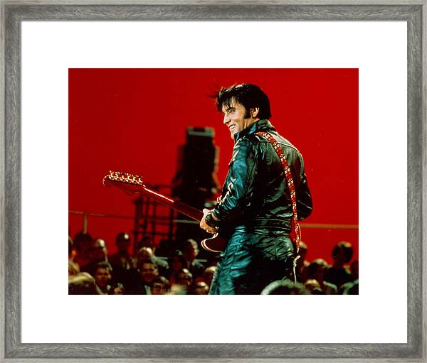 Rock And Roll Musician Elvis Presley Framed Print by Michael Ochs Archives