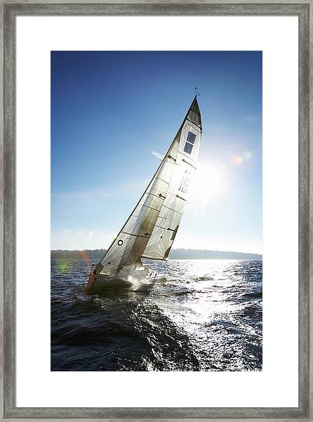 Sailboat In Sea Framed Print