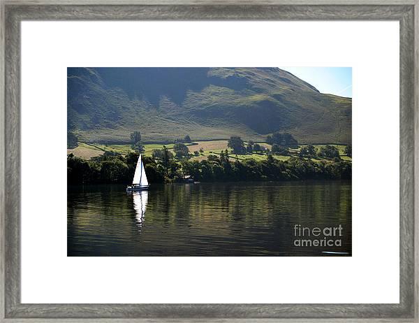 Sailboat On Ullswater In The Lake Framed Print