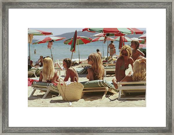 Saint-tropez Beach Framed Print by Slim Aarons