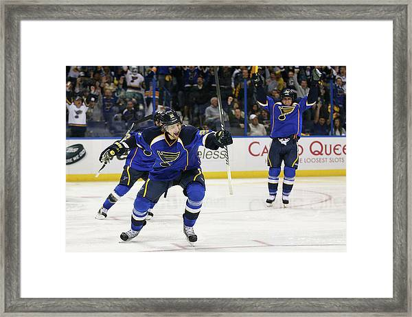San Jose Sharks V St. Louis Blues - Framed Print by Dilip Vishwanat