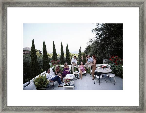 Scio Family Villa Framed Print by Slim Aarons