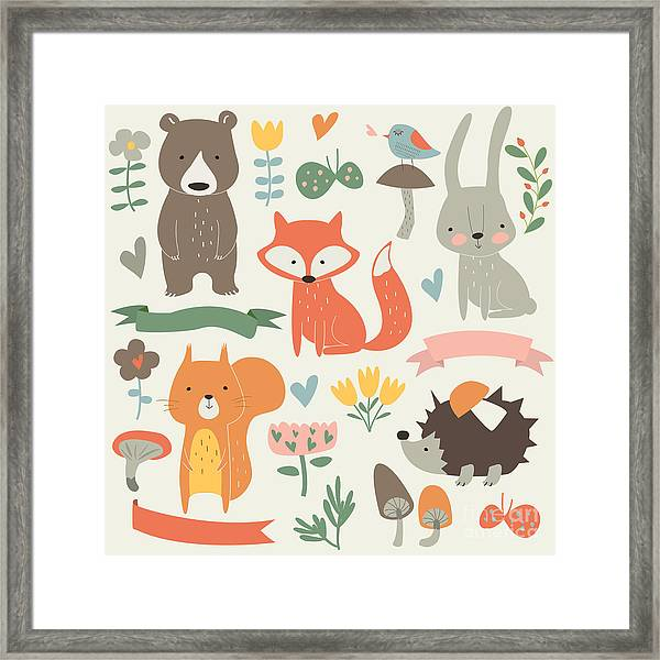 Set Of Forest Animals In Cartoon Style Framed Print by Kaliaha Volha