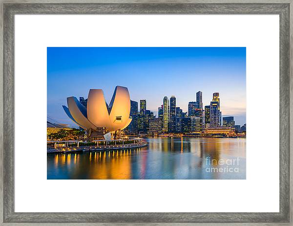 Singapore Skyline At The Marina During Framed Print by Sean Pavone