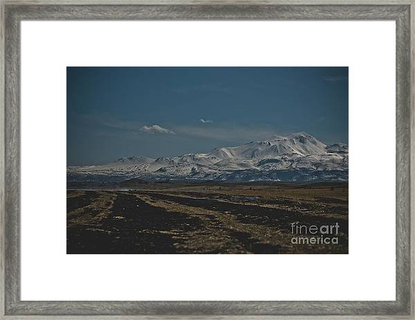 Snow-covered Mountains In The Turkish Region Of Capaddocia. Framed Print
