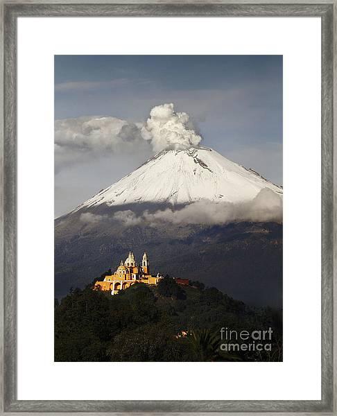 Snowy Volcano And Church Framed Print
