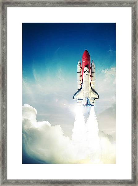Space Shuttle Taking Off On A Mission Framed Print