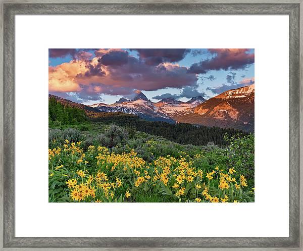 Spring Sunset In The Tetons Framed Print by Leland D Howard