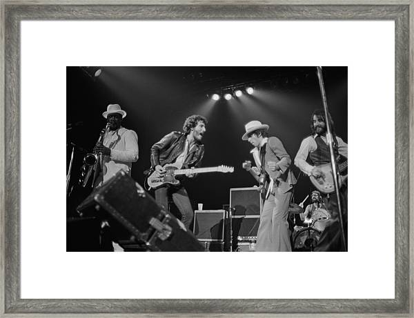 Springsteen Live In New Jersey Framed Print by Fin Costello