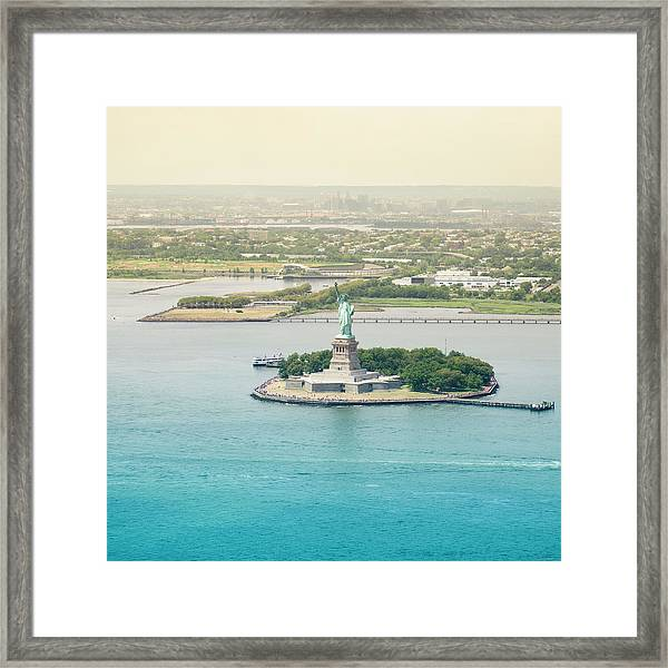 Statue Of Liberty From An Helicopter Framed Print