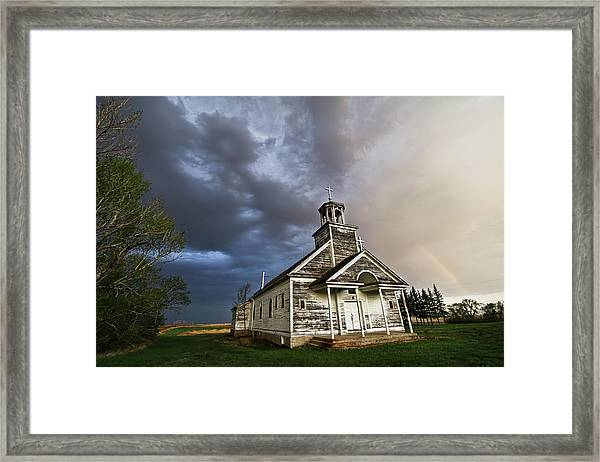 Stormy Sk Church Framed Print