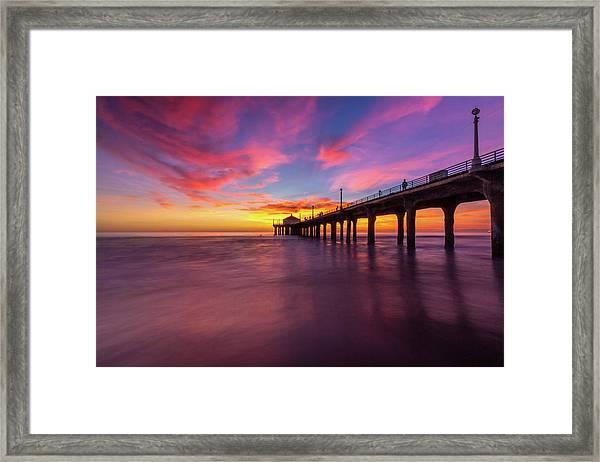 Stunning Sunset At Manhattan Beach Pier Framed Print
