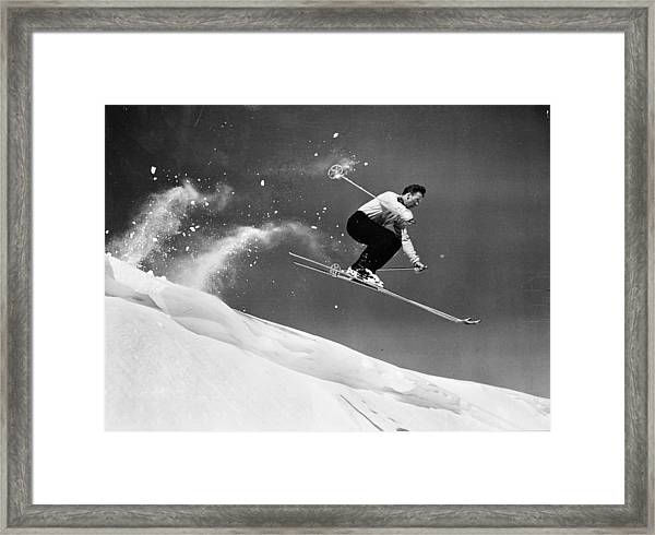 Sun Valley Skier Framed Print by Keystone