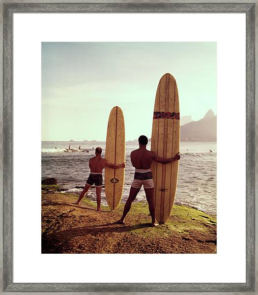 Surfboards Ready Framed Print by Tom Kelley Archive