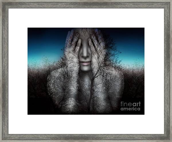 Surreal And Artistic Image Of A Girl Framed Print