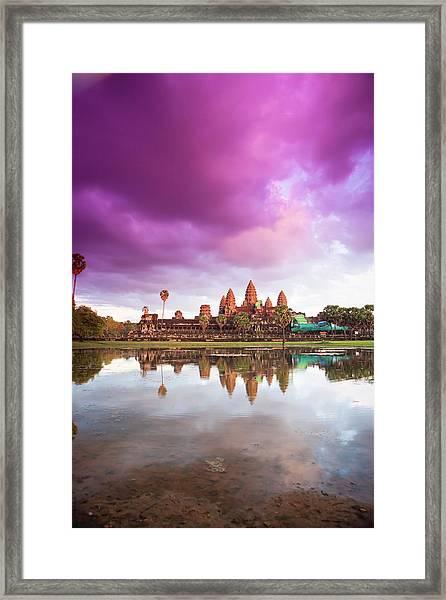 The Angkor Wat Temple At Sunset Framed Print