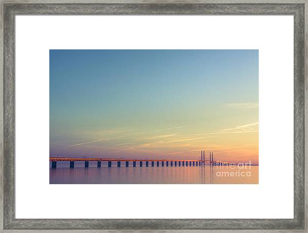 The Bridge Between Denmark And Sweden Framed Print