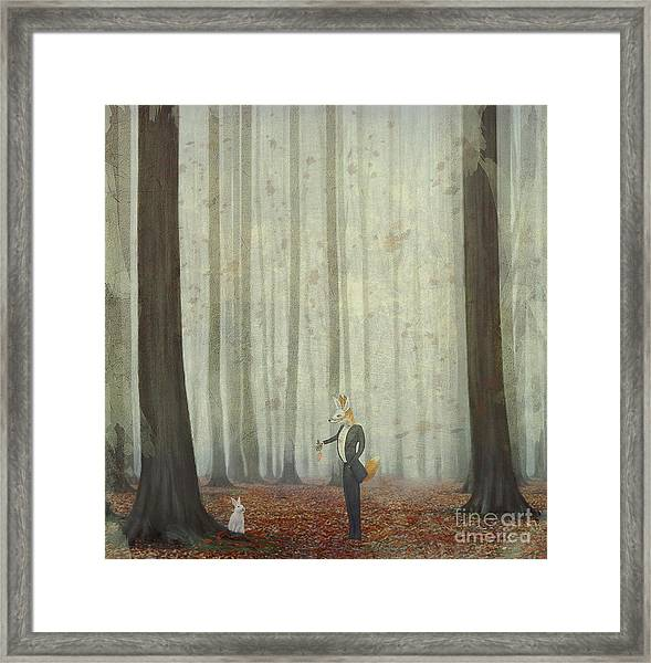 The Fox In A Wood To Hunt On A Hare Framed Print