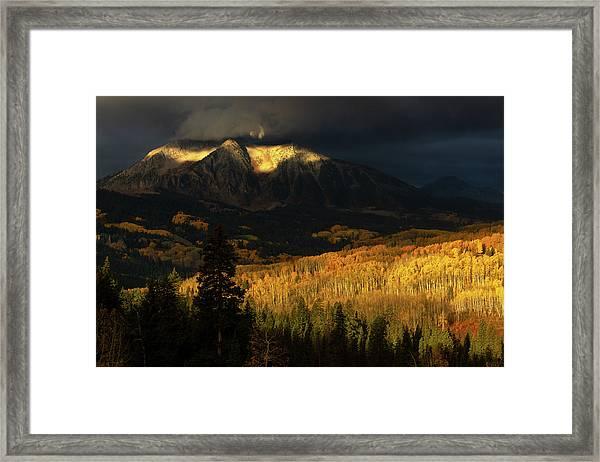 Framed Print featuring the photograph The Golden Light by John De Bord