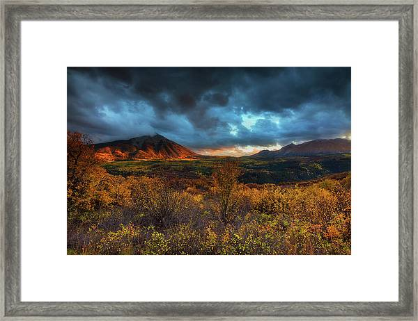 Framed Print featuring the photograph The Last Light by John De Bord
