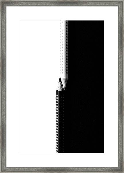 Two Drawing Pencils On A Black And White Surface. Framed Print