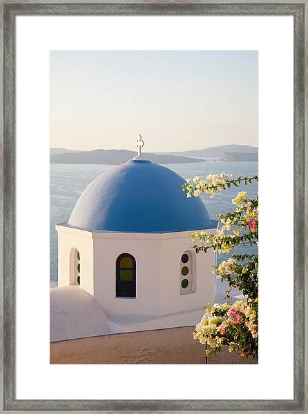 Typical Blue-domed Church, Oia Framed Print