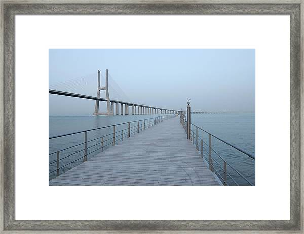 Vasco Da Gama Bridge, Tagus River Framed Print