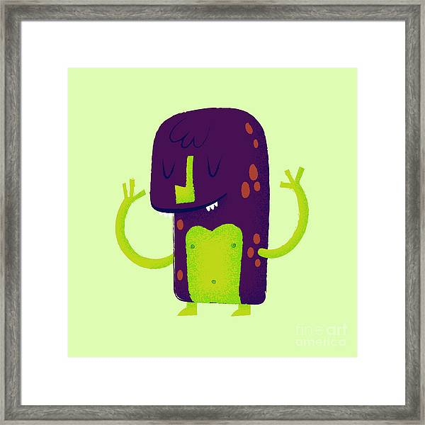 Vector Set Of Cartoon Cute Character Framed Print