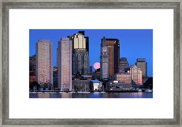 Vernal Equinox And The Worm Moon Over Boston Framed Print