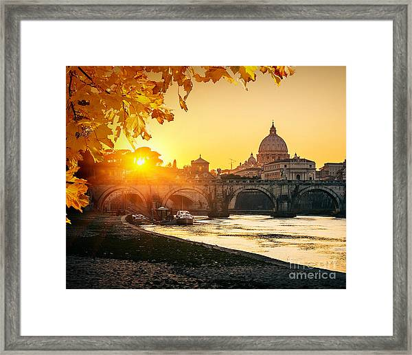 View At Tiber And St. Peters Cathedral Framed Print
