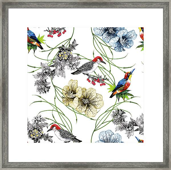 Watercolor Hand Drawn Seamless Pattern Framed Print