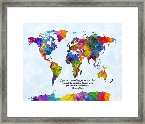 Watercolor World Map Custom Text Added Framed Print