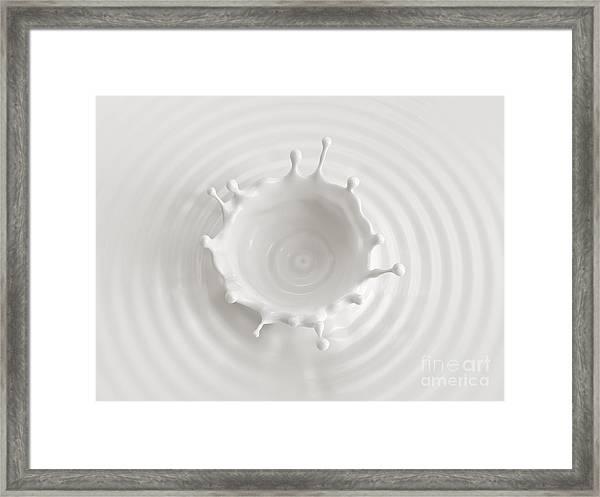 White Abstract Liquid Background, Milk Framed Print
