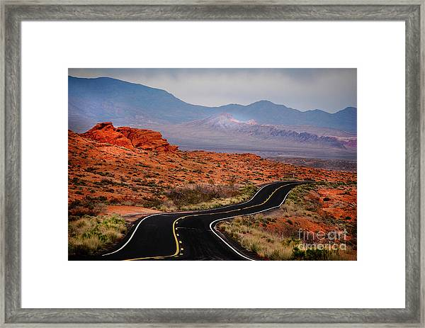 Winding Road In Valley Of Fire Framed Print