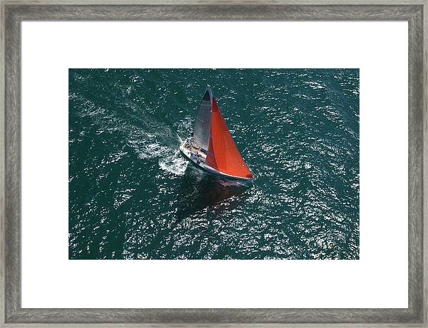 Yacht Competes In Team Sailing Event Framed Print