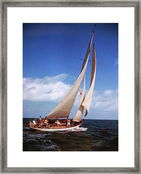 Yacht Starlight In Full Sail In Framed Print