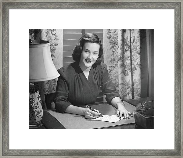Young Woman Writing Letter At Desk, B&w Framed Print