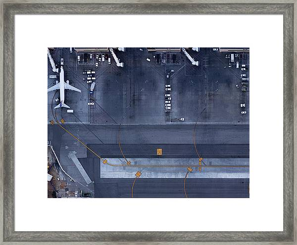 Airliners At  Gates And Control Tower Framed Print