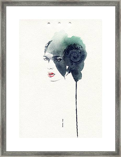 Woman Face. Hand Painted Fashion Framed Print