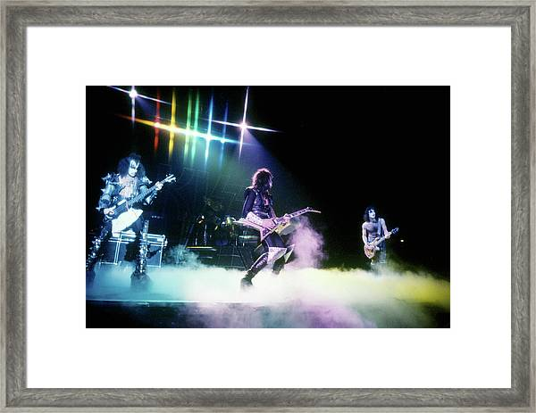 Kiss Performing Framed Print by Michael Ochs Archives