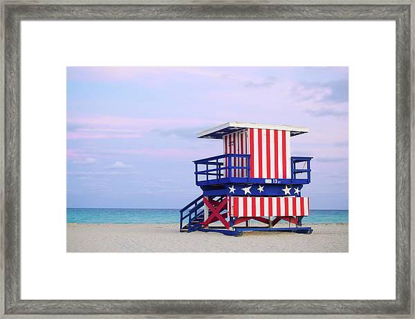 13th Street Lifeguard Hut In Miami Framed Print