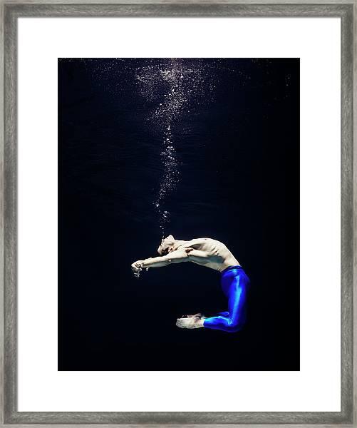 Ballet Dancer Underwater Framed Print by Henrik Sorensen