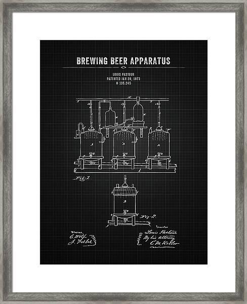 1873 Brewing Beer Apparatus - Black Blueprint Framed Print